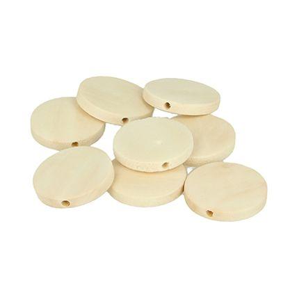 18 perles bois plates 25mm