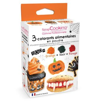 3 colorants poudre Halloween : noir, orange, rouge 3 x 5g