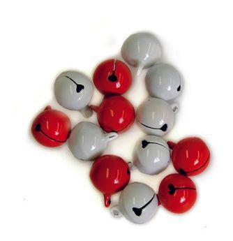 10 grelots blancs et rouges