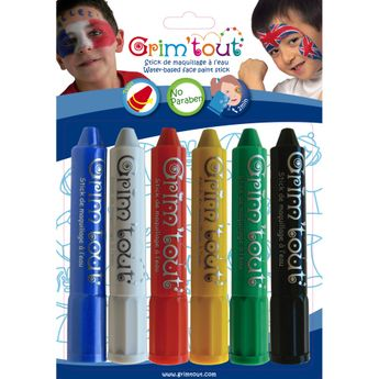 GRIM'TOUT Blister 6 sticks de maquillage - Couleurs sport