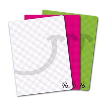 Cahier 24 x 32 cm - 96 pages - Petits carreaux Cultura - couverture polypropylène - Coloris assortis