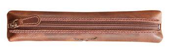 Trousse plate - 19x4 cm brun foncé