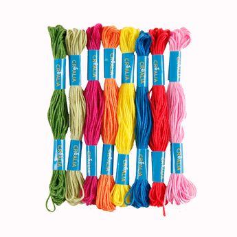 Set 8 fils à broder multicolores couleurs claires Créalia