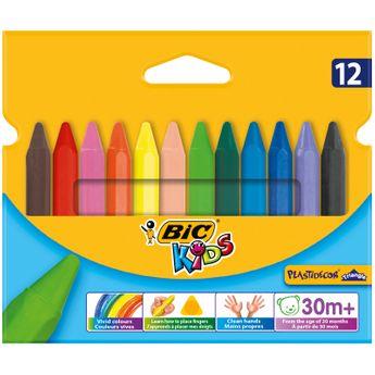 BIC Kids Plastidecor Triangle Craies de Coloriage - Etui Carton de 11