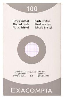 100 fiches Bristol non perforées - 12,5x20 cm - quadrillées