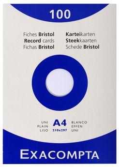 100 fiches Bristol non perforées - 21x29,7 cm - blanc