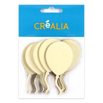 10 ballons en bois 7 cm - couleur naturelle - Créalia