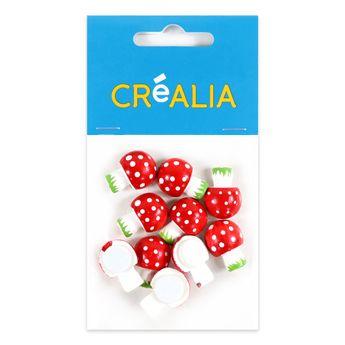 10 champignons en bois peint 2 cm - rouge et blanc - Créalia